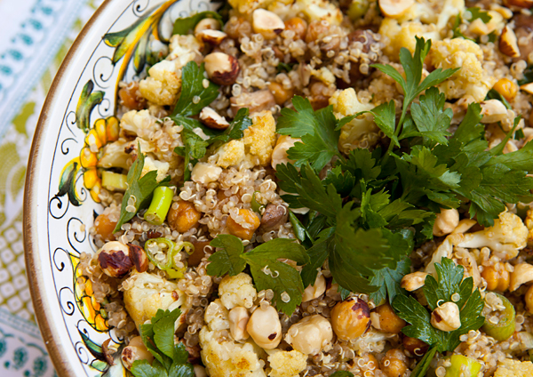 Quinoa Salad With Roasted Cauliflower, Chickpeas, & Mushrooms | Recipe ...