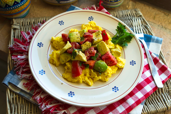 Scrambled Eggs With Tomatoes And Avocado